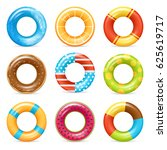 life buoy swimming rings... | Shutterstock .eps vector #625619717