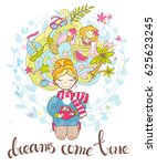 a sweet rosy dreaming girl sits ...   Shutterstock . vector #625623245