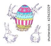 handdrawn  happy easter set...   Shutterstock . vector #625623329