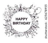 happy birthday  postcard  black ... | Shutterstock .eps vector #625678955