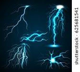 lightning set. realistic... | Shutterstock .eps vector #625681541
