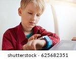 a cute boy with blond hair... | Shutterstock . vector #625682351
