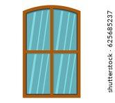 wooden brown window icon flat... | Shutterstock .eps vector #625685237