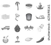 thailand symbols icons set in... | Shutterstock .eps vector #625698161