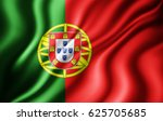 portugal flag of silk 3d... | Shutterstock . vector #625705685