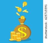 money saving and money bag... | Shutterstock .eps vector #625715591