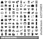 100 sales icons set in simple... | Shutterstock .eps vector #625724855