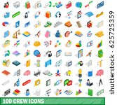 100 crew icons set in isometric ... | Shutterstock .eps vector #625725359