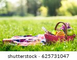 picnic basket and blanket... | Shutterstock . vector #625731047