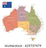 australia map and flag   highly ... | Shutterstock .eps vector #625737479