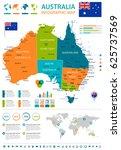 australia map and flag   highly ... | Shutterstock .eps vector #625737569