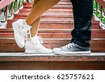 love story told by boots. human ... | Shutterstock . vector #625757621