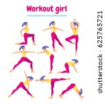 body workout set. woman doing... | Shutterstock .eps vector #625765721