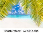palms and tropical beach with... | Shutterstock . vector #625816505
