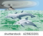 three dolphin swim near volcano | Shutterstock .eps vector #625823201