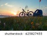 biking in the hills at sunset... | Shutterstock . vector #625827455