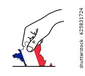 hand voting with french map... | Shutterstock .eps vector #625831724