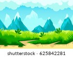 cartoon mountain landscape.... | Shutterstock .eps vector #625842281