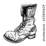old boot. hand drawn vector... | Shutterstock .eps vector #625845629