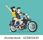 man and woman ride on... | Shutterstock .eps vector #625853435
