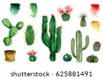 Set Of Watercolor Cactus ...