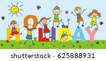 happy kids  funny vector... | Shutterstock .eps vector #625888931