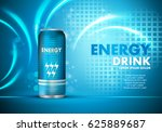 Stock vector energy drink on sparkly and shiny background contained in can template for poster placard web site 625889687