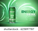 Stock vector energy drink on sparkly and shiny background contained in can template for poster placard web site 625897787