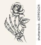 handdrawn skeleton bones hand... | Shutterstock .eps vector #625901624