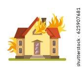 blazing double decker house... | Shutterstock .eps vector #625907681