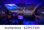 the man drive a car with a gps... | Shutterstock . vector #625917434