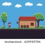 pixel art game scene with... | Shutterstock .eps vector #625935704
