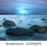 Night Landscape On Sea With...