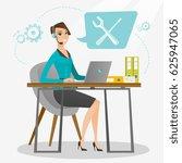 caucasian professional operator ... | Shutterstock .eps vector #625947065