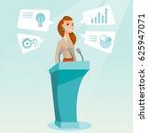 caucasian happy speaker giving... | Shutterstock .eps vector #625947071