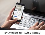 close up of a person booking... | Shutterstock . vector #625948889