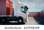truck in container depot ... | Shutterstock . vector #625958189