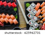 the sushi on the table in the... | Shutterstock . vector #625962731