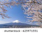 fuji and cherry blossoms in... | Shutterstock . vector #625971551