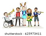 group of kids  include the boy... | Shutterstock .eps vector #625973411