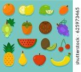 colorful fruit set. summer... | Shutterstock .eps vector #625973465