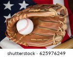 baseball bat and glove on... | Shutterstock . vector #625976249
