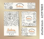 set of vector cards with bakery ... | Shutterstock .eps vector #625978805