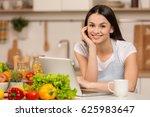 young woman standing near desk... | Shutterstock . vector #625983647