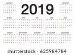 calendar 2019   week starts... | Shutterstock .eps vector #625984784