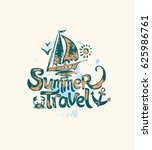 summer travel. hand drawn logo... | Shutterstock .eps vector #625986761