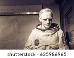 Small photo of HOT SPRINGS, AKANSAS, US - OCT 16, 2016:A waxwork of Neil Alden Armstrong display at Josephine Tussaud Wax Museum. American astronaut, aerospace engineer, first person walk on the Moon. Vintage tone.