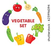 set of cute vegetables in the...   Shutterstock .eps vector #625996094