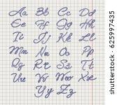ballpoin drawing rope alphabet... | Shutterstock .eps vector #625997435