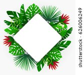 frame with tropical plants.... | Shutterstock .eps vector #626006249